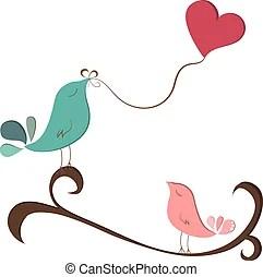 Download Birds love heart balloons. Cute bird couple in love ...