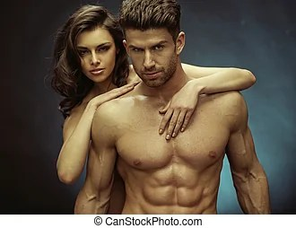 Muscular handsome man and his sensual girlfriend - Muscular...