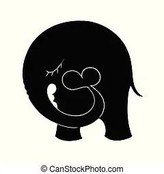 Download Children with heart balloons, silhouette. Cartoon little ...