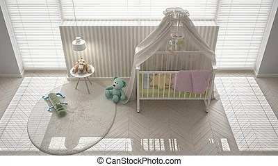 Scandinavian white child bedroom with canopy crib  minimal interior     Scandinavian white child bedroom with canopy crib  minimal interior design