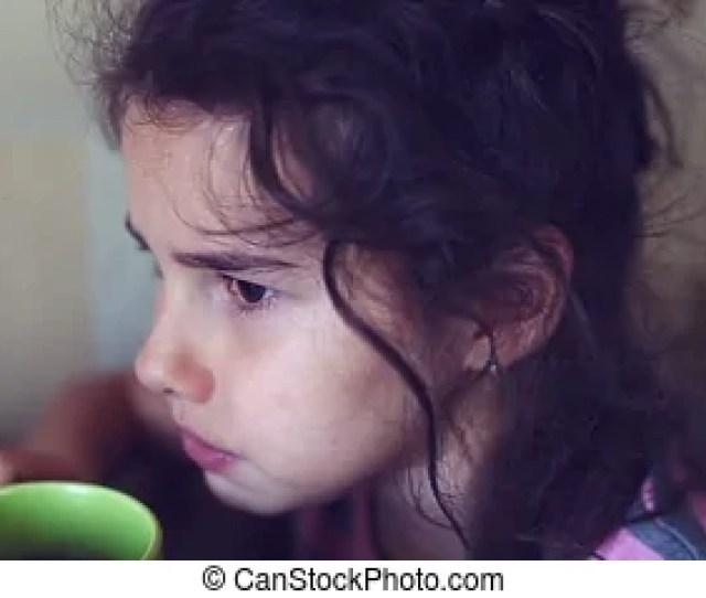 Teen Girl Drinking Hot Tea Mug