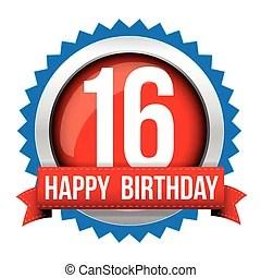 Alles Gute Geburtstag 16 Jahre Fruher Etikett Mit Rotes Band