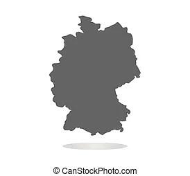 Térkép, németország. Térkép, felett, németország, fehér.