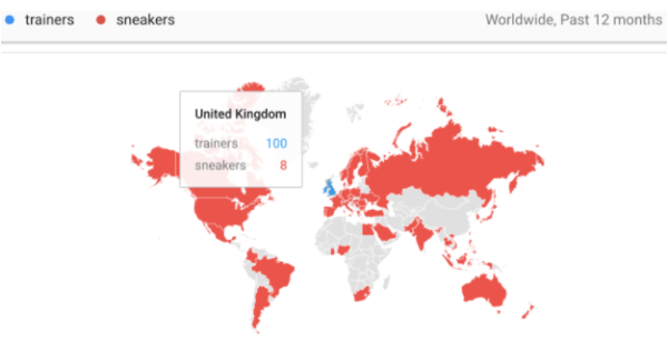 google trends trainers vs sneakers