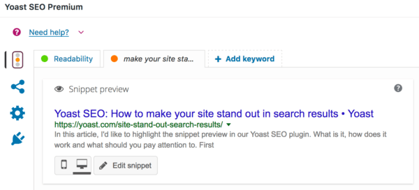 Yoast SEO's snippet preview - How to make your site stand out in search results