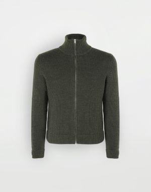 Maison Margiela High Neck Sweater Military Green Wool