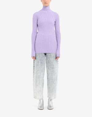 Mm6 By Maison Margiela High Neck Sweater Lilac