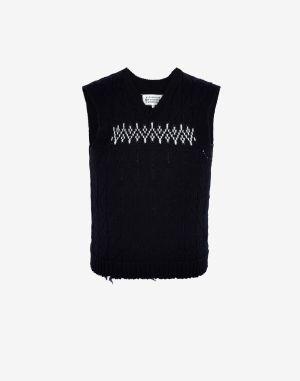 Maison Margiela V-neck Sweater Dark Blue Wool