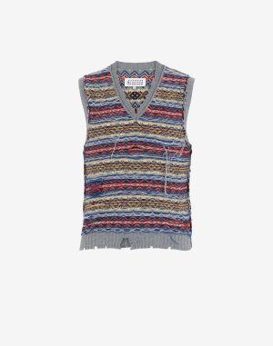 Maison Margiela V-neck Sweater Grey Wool, Polyamide, Acrylic
