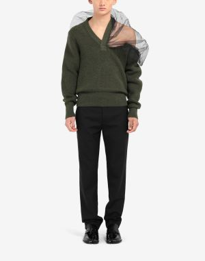 Maison Margiela V-neck Sweater Military Green