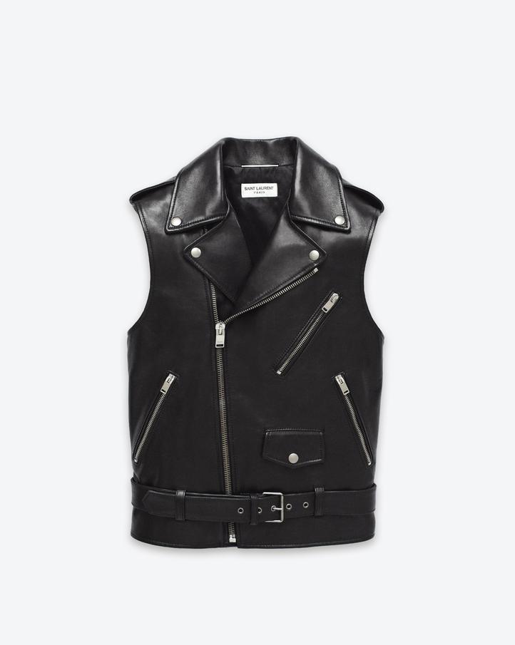saintlaurent, Classic Motorcycle Vest in Black Leather