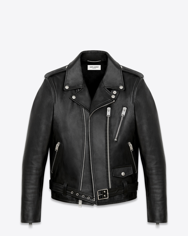 saintlaurent, Signature Motorcycle Jacket in Black Washed Leather