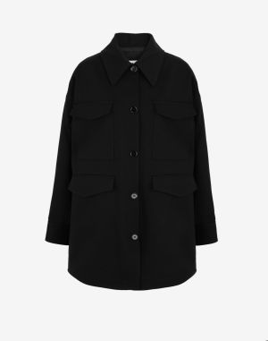 Mm6 By Maison Margiela Coats And Trenches Black Cotton, Elastane