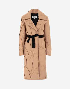 Mm6 By Maison Margiela Coats And Trenches Camel Virgin Wool, Polyamide