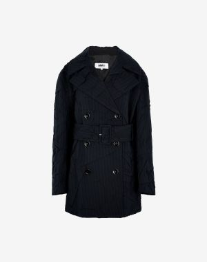 Mm6 By Maison Margiela Coats And Trenches Dark Blue Polyester, Wool, Elastane