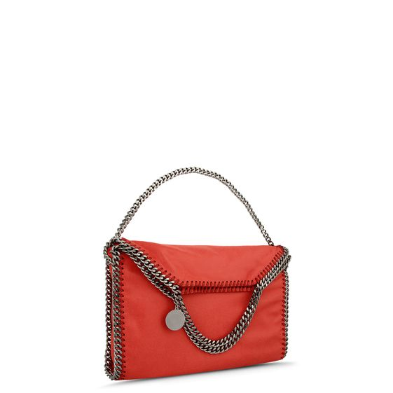 Stella McCartney Falabella Shaggy Deer Fold Over Tote in Coral