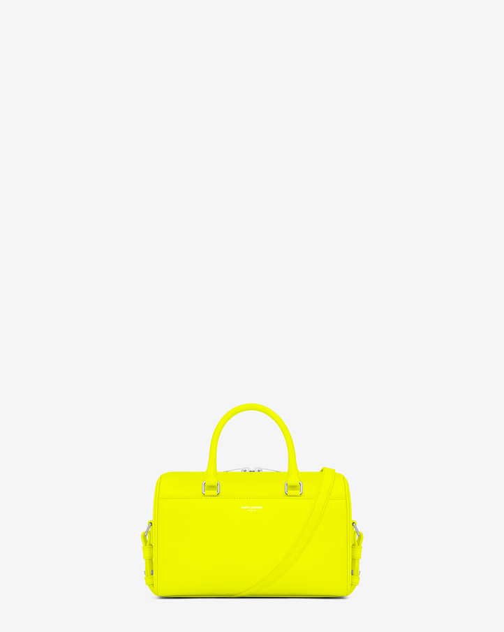 saintlaurent, Classic Baby Duffle Bag in Neon Yellow Leather