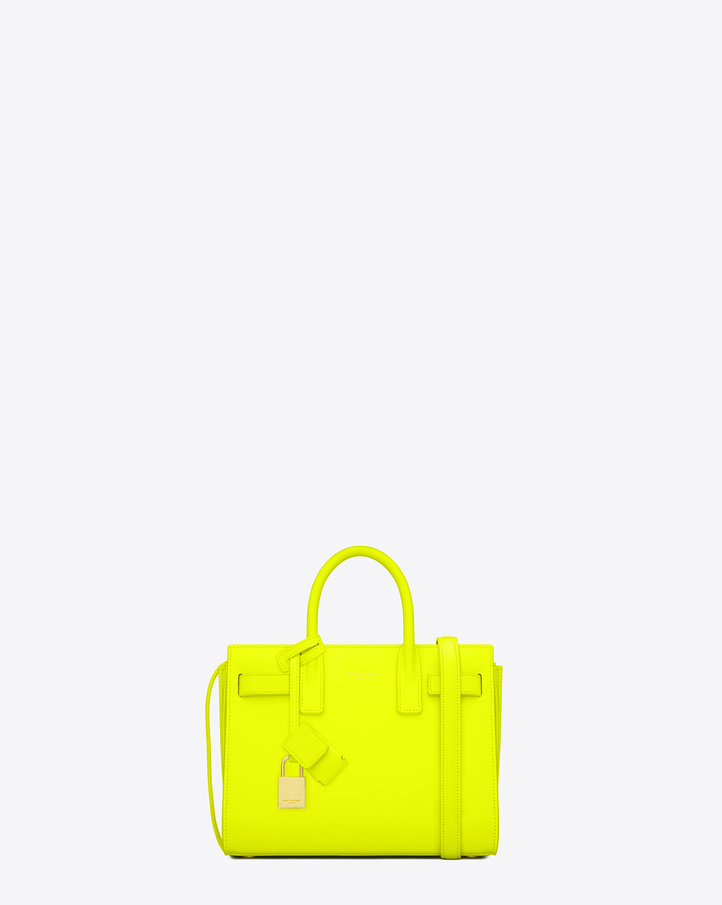 saintlaurent, Classic Baby Sac De Jour Bag in Neon Yellow Leather