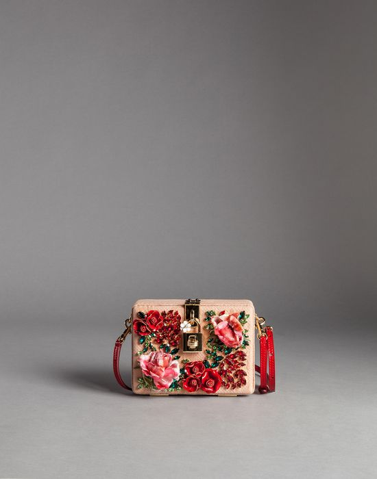 RAISED RHINESTONE ROSE JACQUARD DOLCE BAG - Small fabric bags - Dolce&Gabbana - Winter 2015