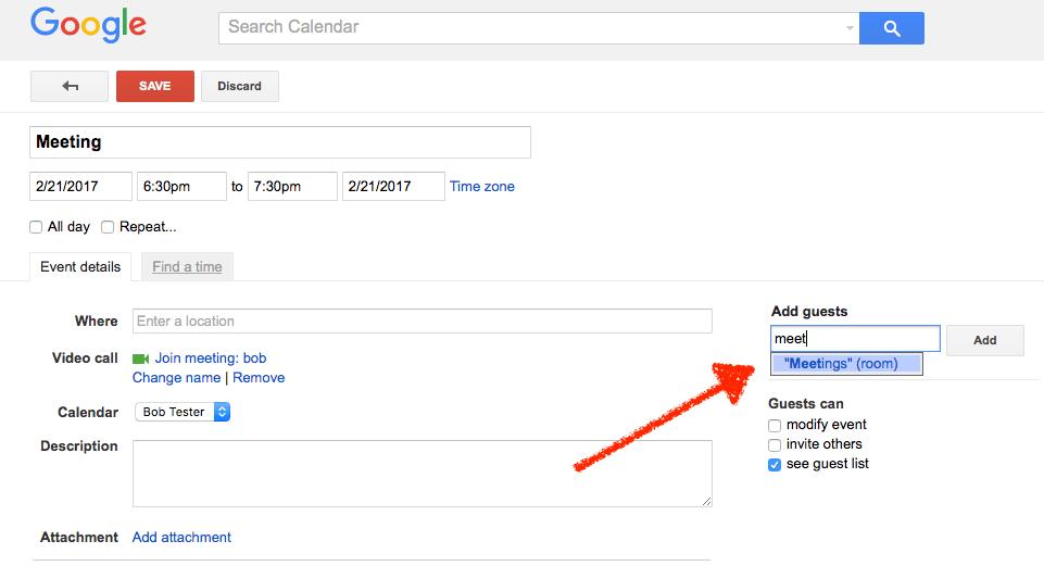 Add resource to Google Calendar event