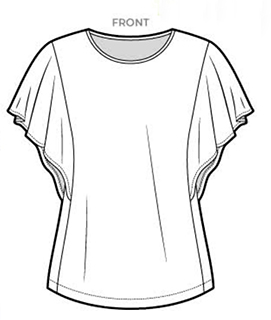 Line art of Style Arc's Posie Knit pattern. It's a dartless tee with buttflry sleeves and a slightly-scooped neckline.