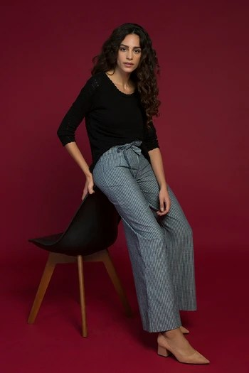 model image of Zivame Flared Easy Fit Pants-Navy