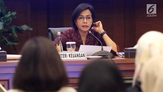 Menteri Keuangan Sri Mulyani saat konferensi pers APBN KiTa Edisi Feb 2019 di Jakarta, Rabu (20/2). Kemenkeu mencatat defisit APBN pada Januari 2019 mencapai Rp45,8 triliun atau 0,28 persen dari PDB. (Liputan6.com/Angga Yuniar)