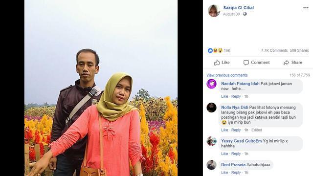 Mirip Seperti Jokowi, Suami Wanita Ini Jadi Viral di Jejaring Sosial