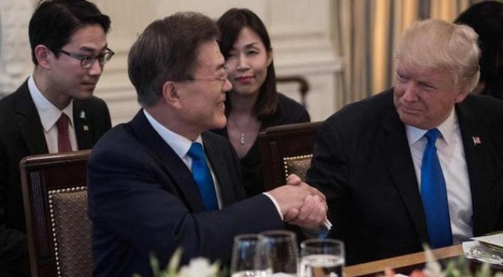 Pertemuan antara Presiden Amerika Serikat Donald Trump dan Presiden Korea Selatan Moon Jae-in di Gedung Putih (AFP)