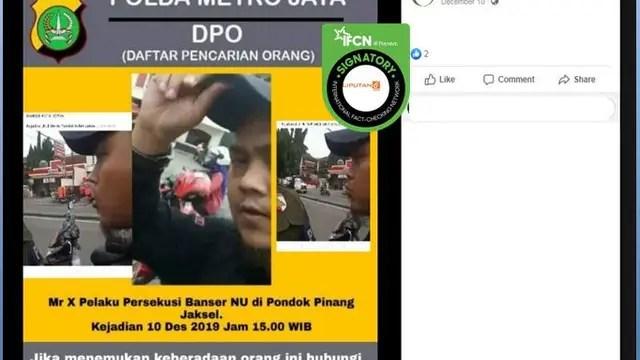 [Cek Fakta] Pamflet DPO Pelaku Persekusi Banser NU Tersebar, Benarkah?