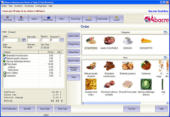 ABACRE RESTAURANT POINT OF SALE 10.7 PRO