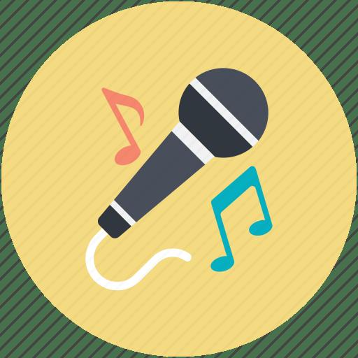 Mic, microphone, music notes, singing, speak icon