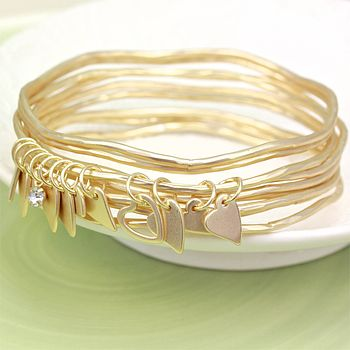 Set Of Matt Gold Heart Charm Bangles