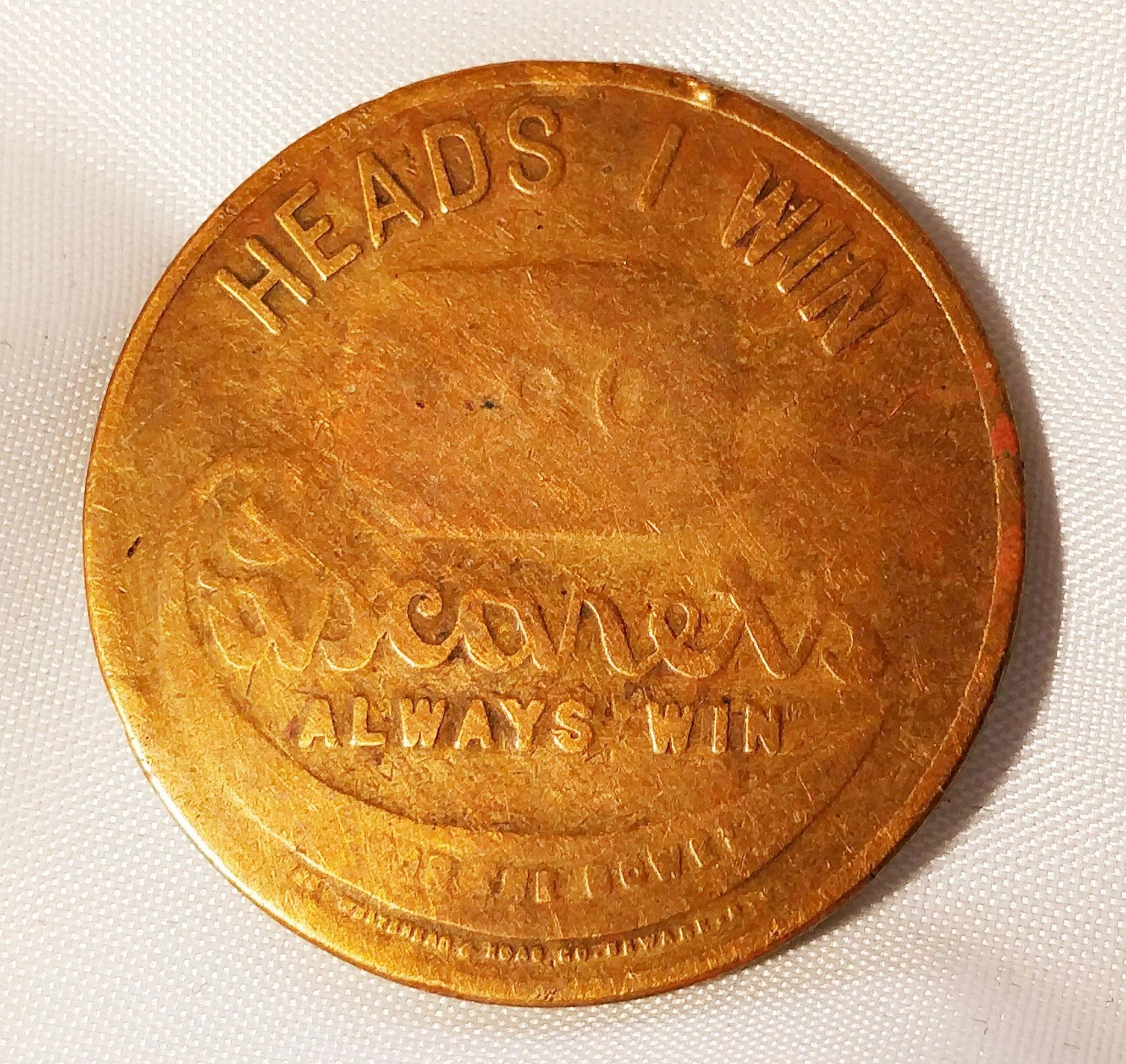 Vintage Coin Heads Tail Win Lose Novelty Flipping Cherub