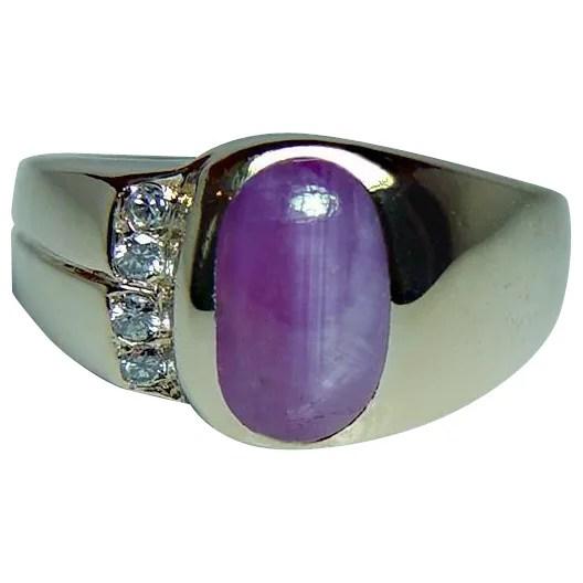 Vintage Star Sapphire Ruby Diamond 14K Gold 3ct Ring Mens