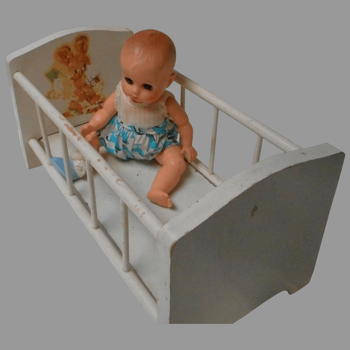 vintage white wooden doll crib with bunny transfer