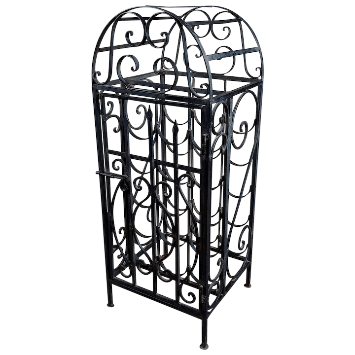 spanish revival vintage wrought iron cage shape wine rack