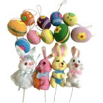 1970 S Easter Decorations Pick Ornaments Bunny Rabbits Eggs Group