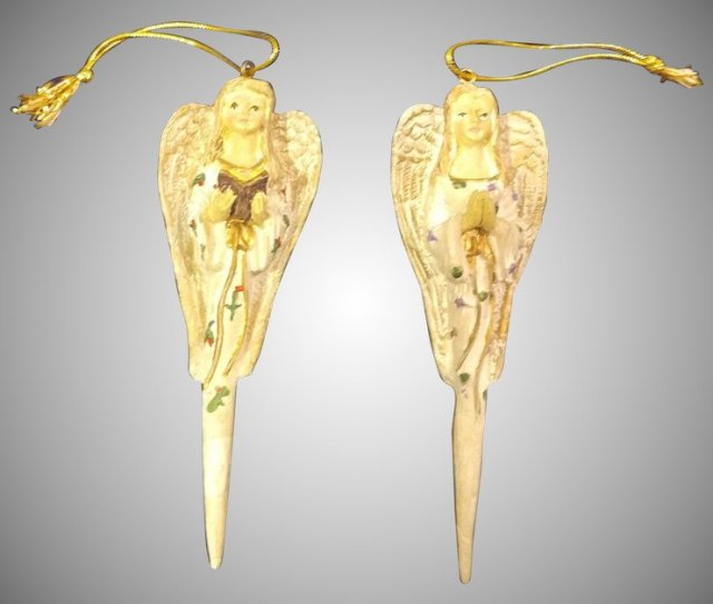 Pair Of Ceramic Angel Icicle Christmas Ornaments