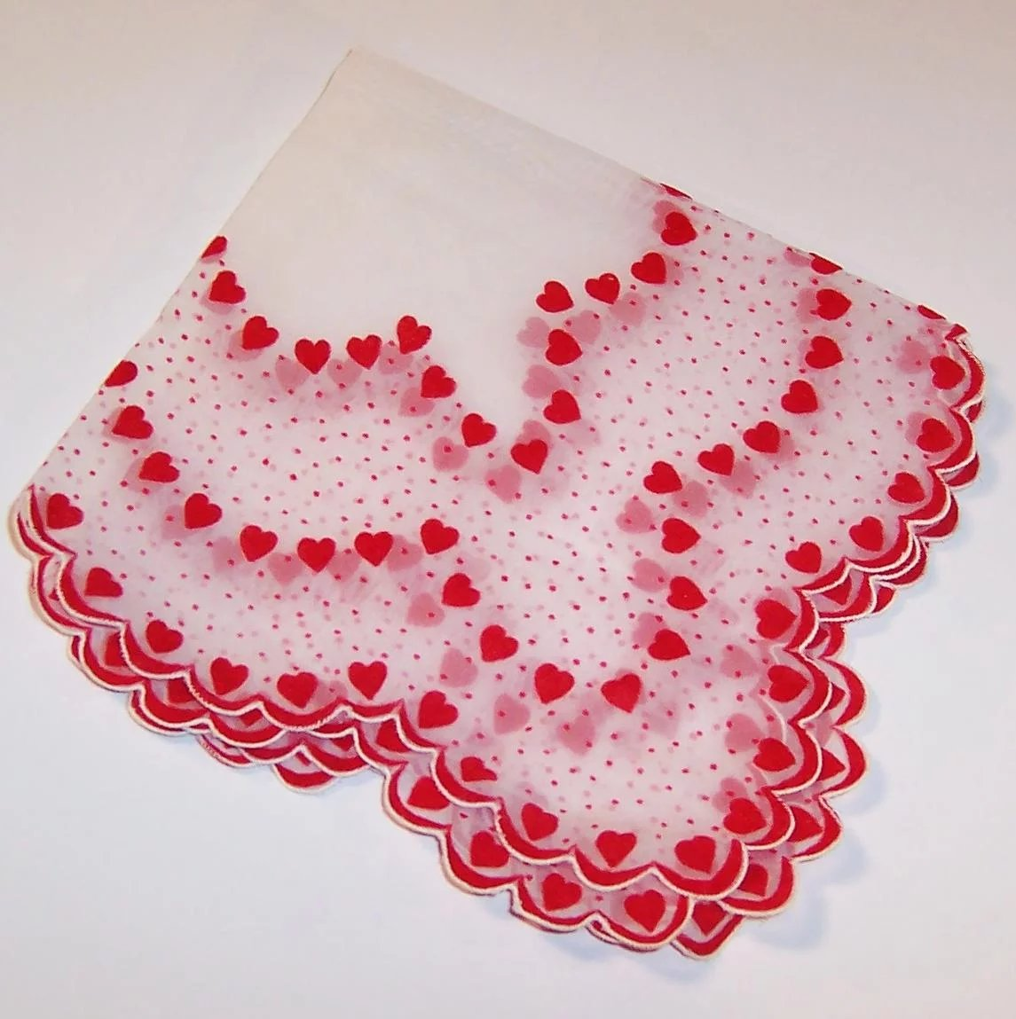Valentines Day Sheer Amp Dainty Flocked Hearts Hankie