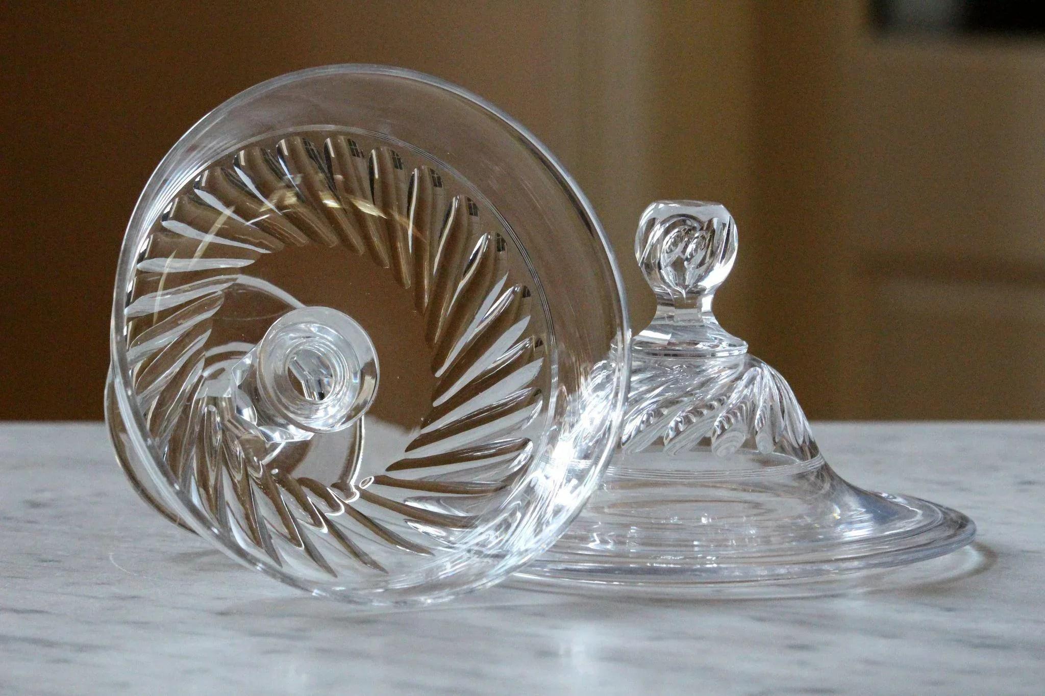 Antique Crystal Glass Bonbonniere Cut Glass Bonbon Jar