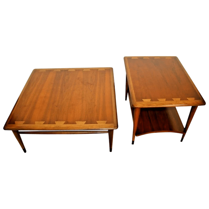 lane acclaim mid century modern coffee and end tables set of two