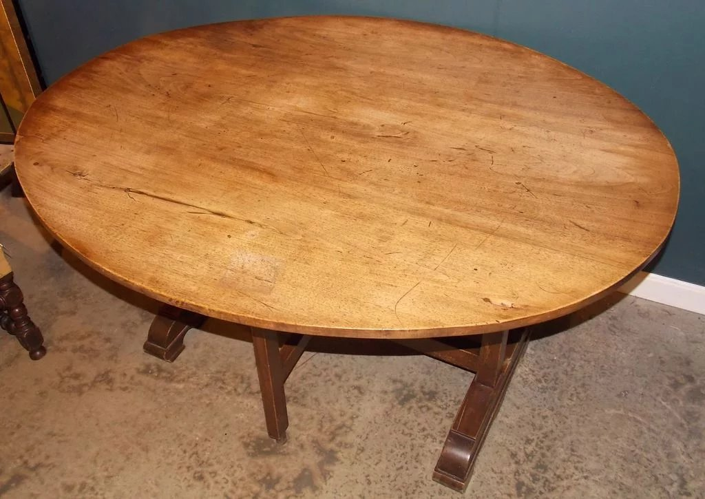 19th C French Oval Wine Tasting Table New Hampshire