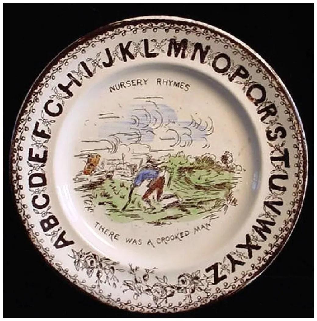 Alphabet Nursery Plate Crooked Man Childhood
