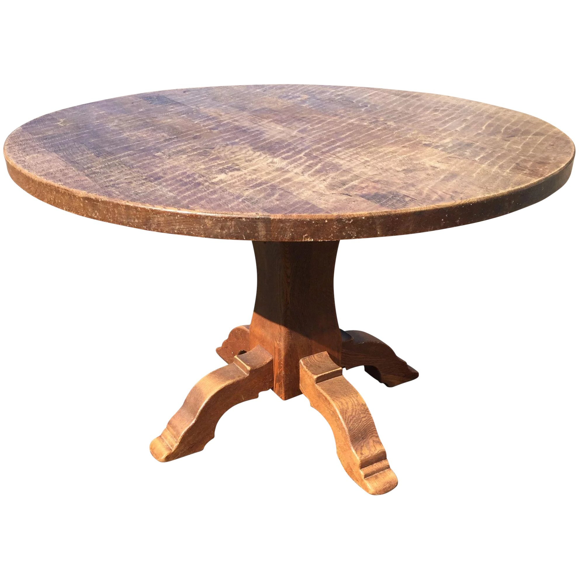 Vintage French Rustic Oak Wood Round Table Europe Antiques Collectibles And Decorations Shop