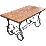 Unique Coffee Table With Oak Top Wrought Iron Hand Forged Base Europe Antiques Collectibles And Decorations Shop Ruby Lane