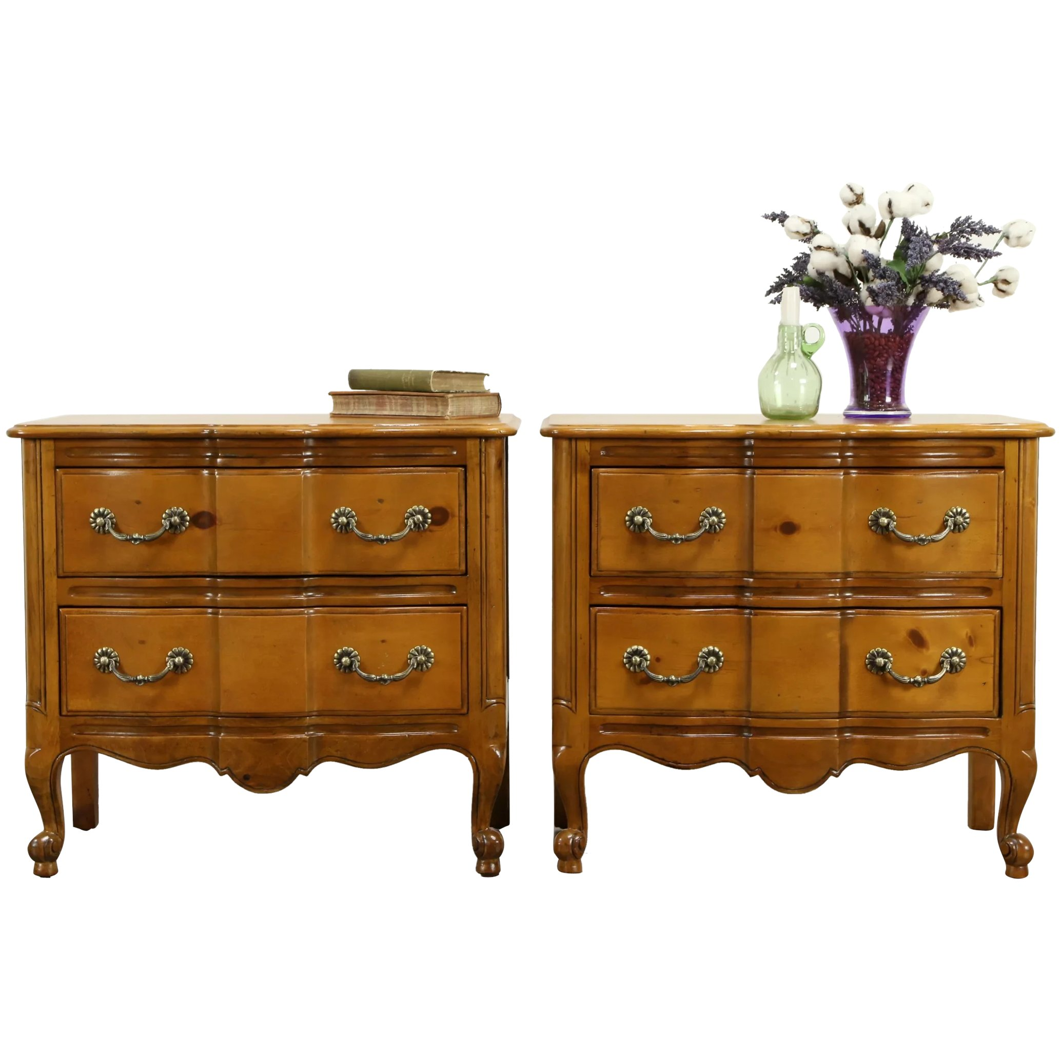 Pair Of Country Pine Vintage Chests Nightstands Or Lamp Tables 31619