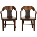 Pair Of 1910 Oak Banker Chairs With Arms Original Leather Harp Gallery Antique Furniture Ruby Lane