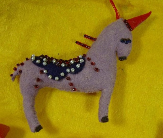 Babys First Christmas Handmade Felt Ornaments Pig Cow Chicken Elephant Unicorn