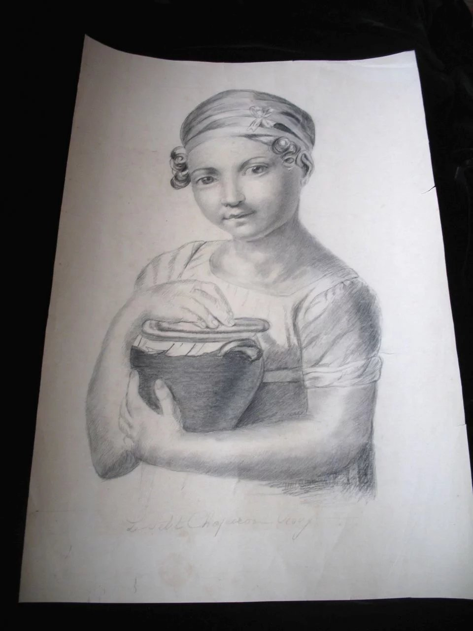 Antique Charcoal Drawing French VICTORIAN Large GIRLs